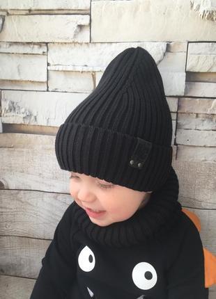 Детская демисезонная шапка рубчик для мальчика от 2 лет 48 50 52 54 56