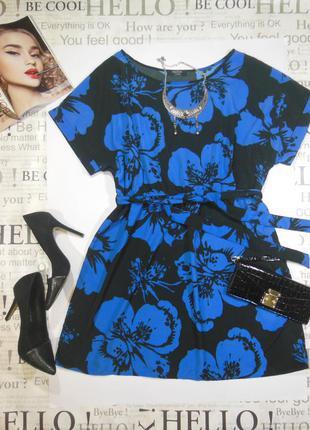 Коктельное платье с принтом цветы