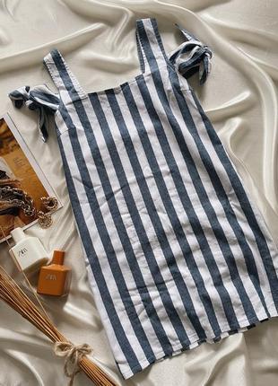 Хлопковое платье в полоску boohoo