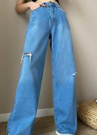 Новые крутые широкие джинсы с разрезами по бокам турция2 фото