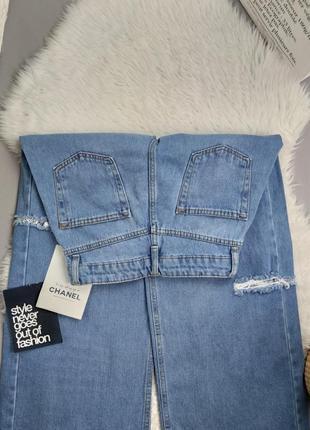 Новые крутые широкие джинсы с разрезами по бокам турция4 фото