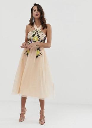 Фатиновое платье с вышивкой палетки asos