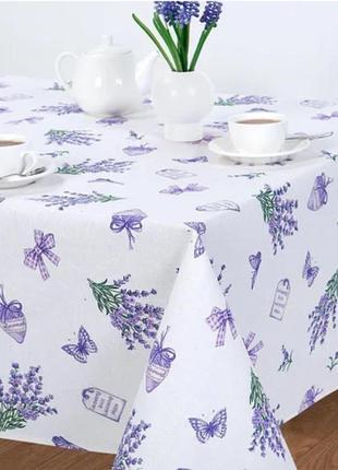 """Качественная скатерть на стол """"лаванда на белом"""", скатертина 150*220 на великий стіл"""