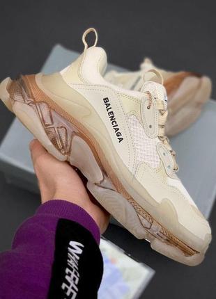 Кроссовки в стиле balenciaga triple s clear sole cream gold кросівки жіночі баленсиага