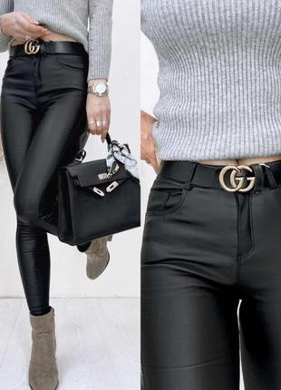 Акция кожаные штаны с напылением на высокой посадке, чёрные кожаные скинни