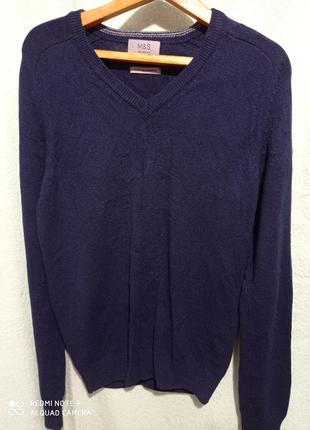 Пуловер полуреглан темно синий нави натуральный 💯 шерстяной woolmark pure