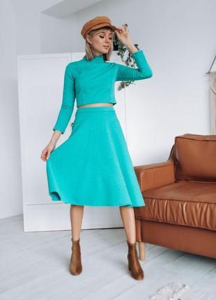 Женский костюм размер 44-46/ костюм с юбкой/ тёплый костюм/ юбка/ топ