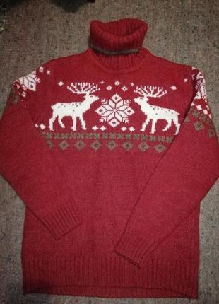 Теплый свитер, новогодний