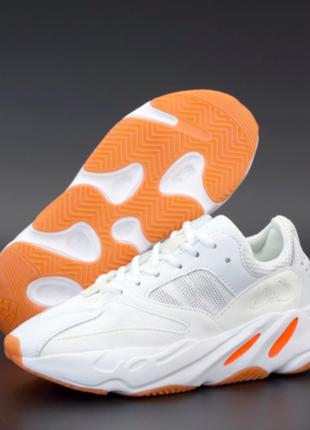 Женские кроссовки adidas yeezy boost 700 белые, замша, текстиль, подошва - пена