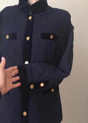 Стёганная куртка пиджак  peter hahn с бархатными вставками раз.14-16 (пог 55 см)