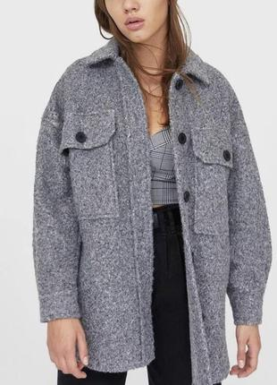 Тёплая рубашка жакет пальто stradivarius оригинал оверсайз