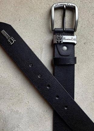 Ремень кожаный massimo dutti чёрный