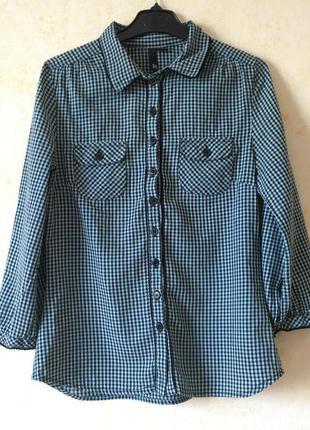 Рубашка клетку, натуральная хлопковая рубашка h&m, сорочка в клітинку