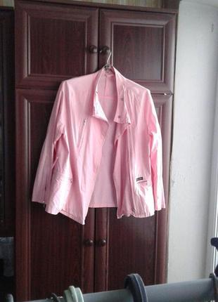 Куртка-косуха тканевая легкая летняя розовая