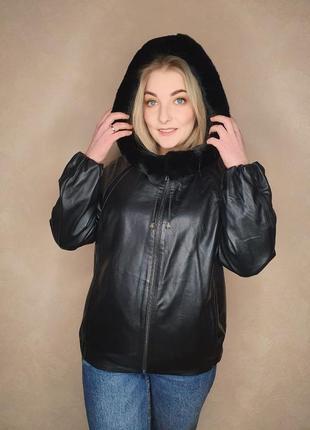 Кожаная курточка бомбер с капюшоном и съемной опушкой из шиншиллы
