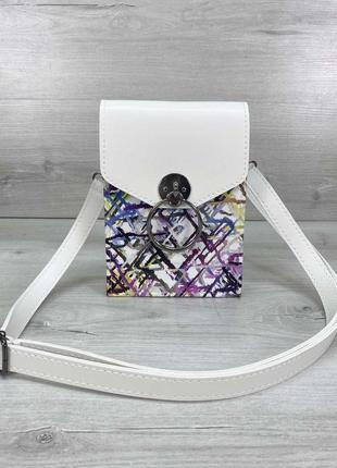 Белая маленькая сумка через плечо женская летняя кросс-боди для телефона