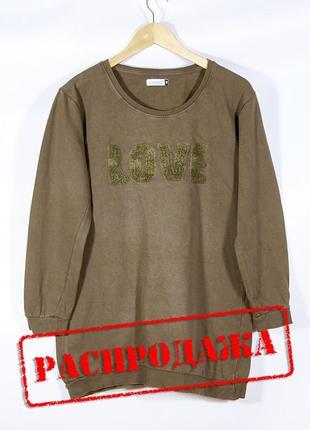 Женский свитшот длинный, оливковый свитшот хаки, женская толстовка длинная, свитер