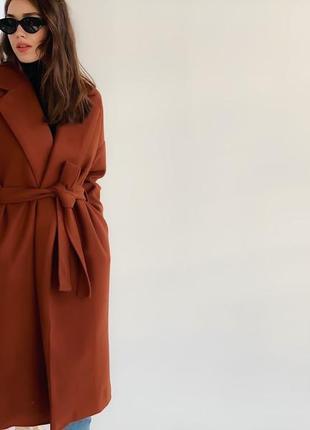 Пальто под пояс на запах кашемировое пальто