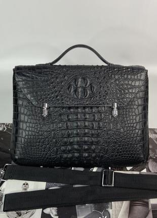 Женская кожаная сумка портфель крокодил чёрная стильная жіноча шкіряна сумка портфель