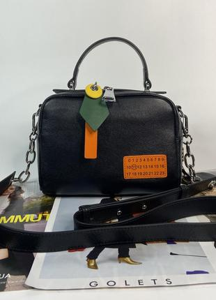 Женская кожаная сумка через плечо чёрная polina & eiterou жіноча шкіряна сумка чорна