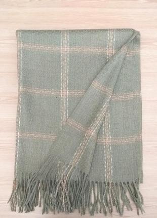 Зимний шарф клетка зелёный хаки унисекс