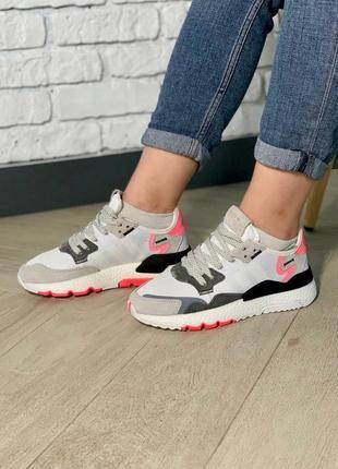 Женские стильные кроссовки adidas nite jogger white/pink