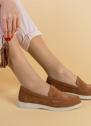 Замшевые рыжие женские туфельки с кисточками