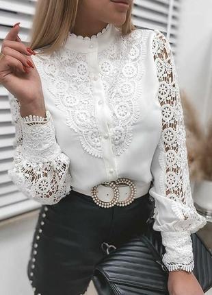 Кружевная блузка рубашка с воротником стойкой 16