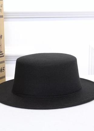 Стильная  фетровая шляпа канотье чёрный