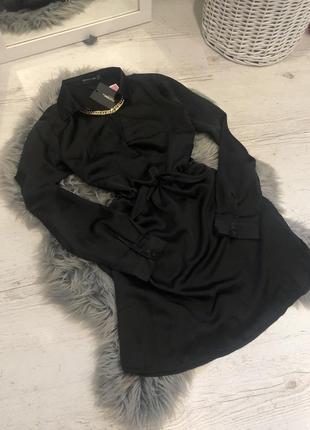 Сатиновое  платье рубашка чёрное. 🖤 сукня сорочка сатинова