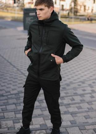 Комплект softshell intruder xаки с черными штанами + ключница в подарок