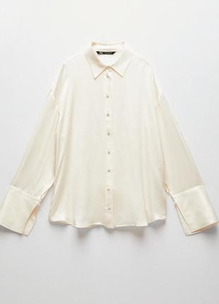 Zara молочная рубашка из ткани купро