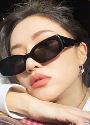 Тренд 2021 черные узкие прямоугольные очки солнцезащитные ретро окуляри чорні