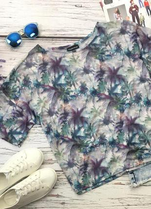 Легкая принтованная футболка со спущеным плечом   bd3214  warehouse