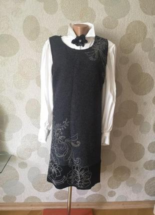 Шерстяное платье сарафан вышитое с паетками