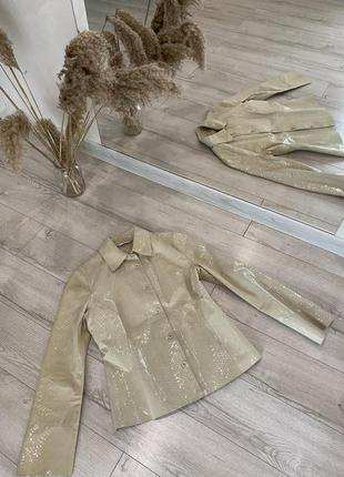 Бежевая кожаная куртка-рубашка (кожа питона)🐍подиумного стиля 👌змеиная кожа