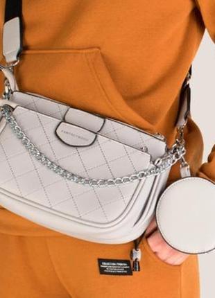 Женская кросс-боди 2 больших отделения + кошелек, сумка-кошелек через плечо с цепочкой
