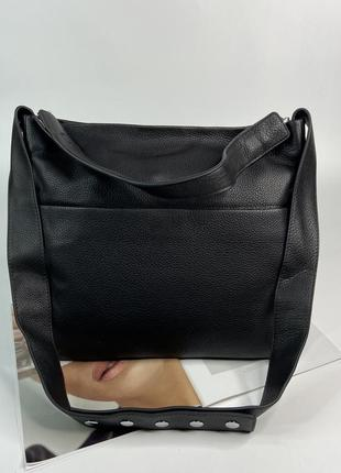 Женская кожаная сумка большая на плечо чёрная