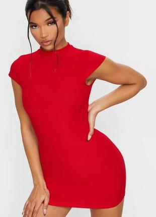 ❗️♥️красное платье в рубчик от prettylittlething zara