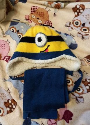 Шапка зимова з шарфиком з міньонами