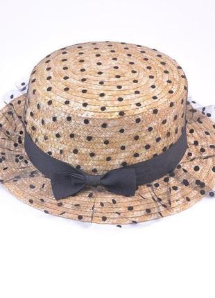Пляжная шляпка соломяная