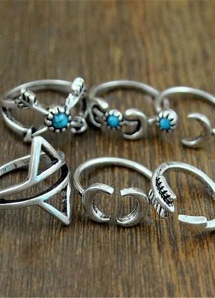 Кольца с стиле бохо комплект, аюрведические кольца на фаланги пальцев, набор колец 6 штук