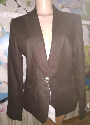 Пиджак шоколадного цвета льняной новый next buttons 14(42)