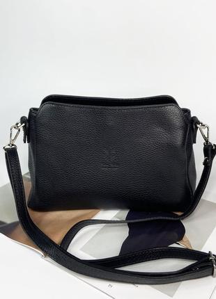 Женская итальянская кожаная сумка через плечо на три отдела vera pelle италия чёрная