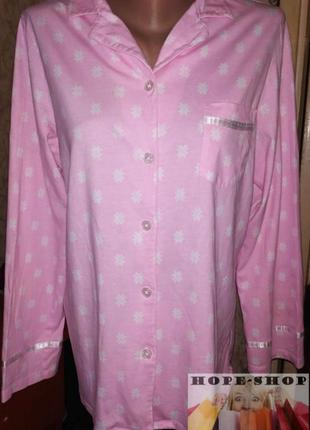 Трикотажная розовая принтованная домашняя рубашка,рубашка для сна с длинным рукавом
