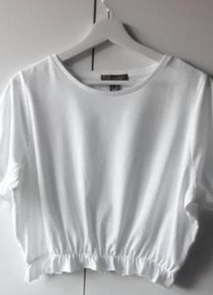 Актуальный белый кроп топ, футболка на резинке, primark, стильная, нарядная