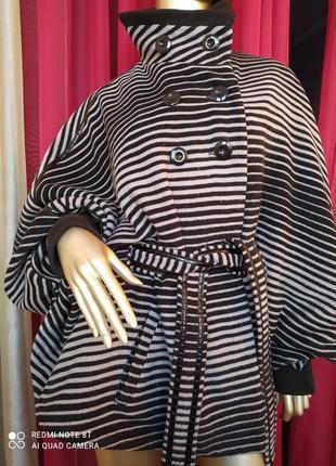 🦓🦓🦓шерстяное шикарное стильное тёплое пальтишко с широкими трендовыми рукавами collection5 фото