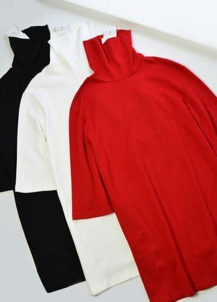 Теплое свободное платье с высоким горлом от zara хлопок
