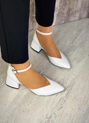 36-40 рр туфли шикарные стильные кожаные цвет белый на невысоком каблуке