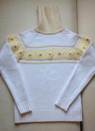 Теплый белый свитер вязаный свитер с горлом